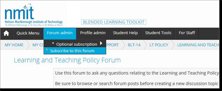 forum subscription via menu bar